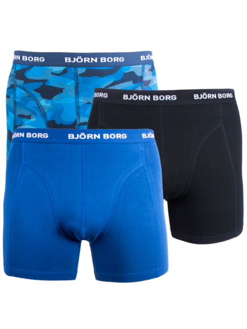 Herren Boxer Björn Borg Shadeline Essential 3-pack- blau, schwarz und blau mit Armeemuster