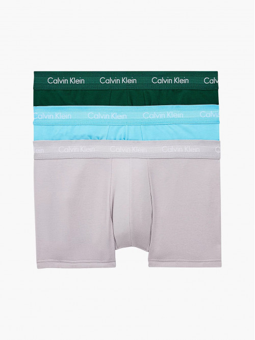 Herren Boxershorts Calvin Klein Cotton Stretch Low Rise Trunk Grün, Blau, Grau 3-pack
