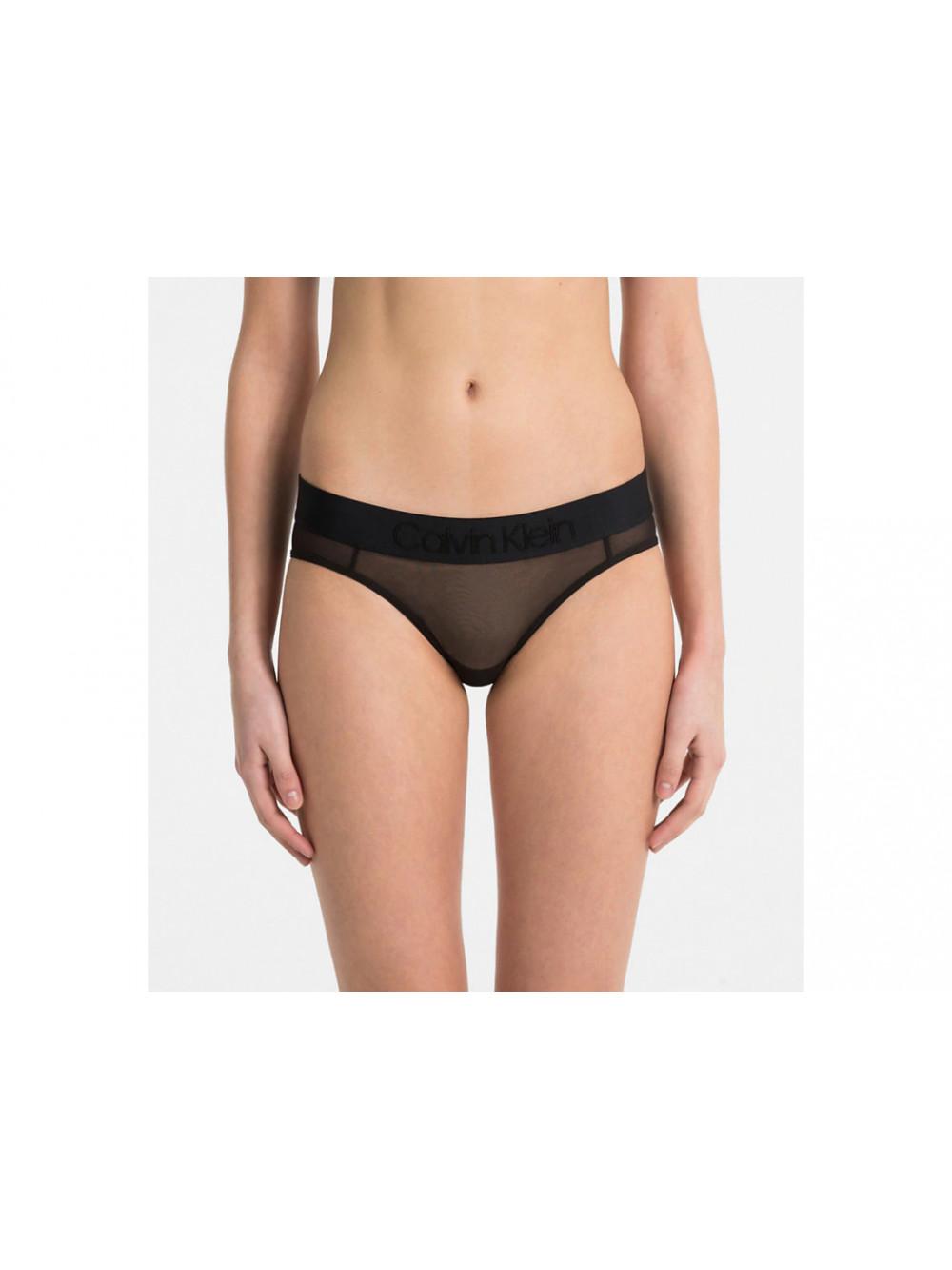 Damen Höschen Calvin Klein Bikini Tonal Logo Mesh Schwarz