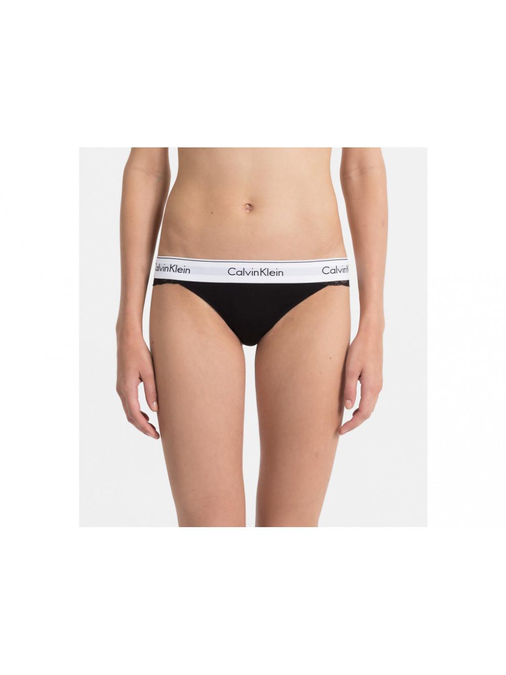Damen Tangahöschen Calvin Klein Modern Cotton Lace Thong Schwarz