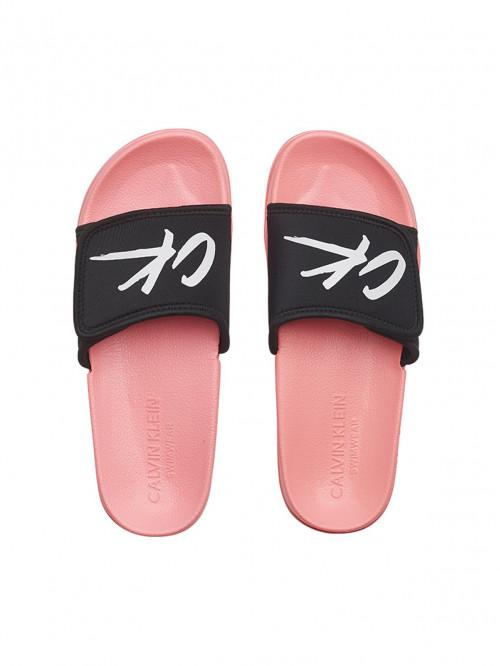 Damen Badeschlappen Calvin Klein Velcro Slide Rosarot-Schwarz