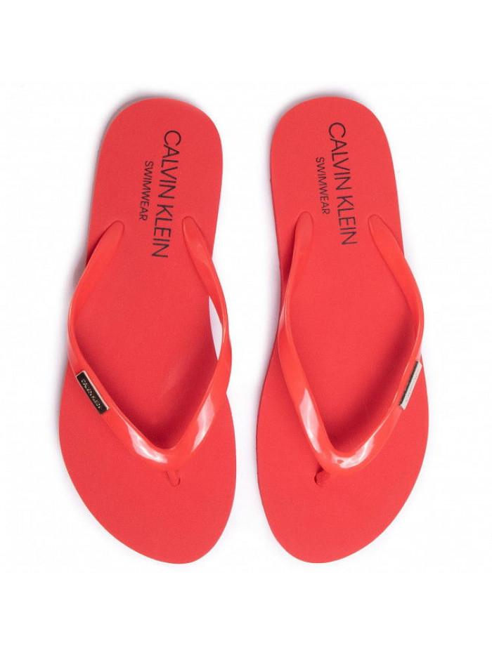 Damen Badeschlappen Calvin Klein Swimwear Metal Logo Rot