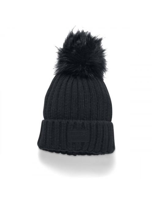 Damen Mütze Under Armour Snowcrest Pom Beanie Schwarz