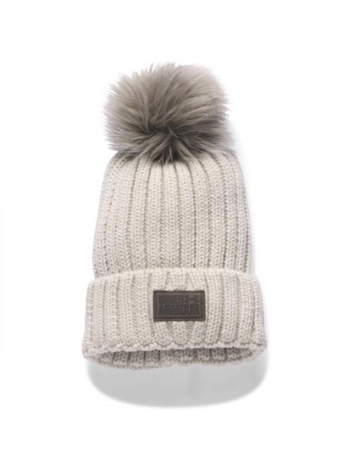 Damen Mütze Under Armour Snowcrest Pom Beanie Grau