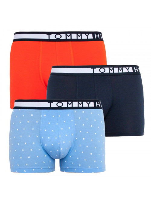 Herren Boxer Tommy Hilfiger Organic Cotton Hellblau, Blau, Orange 3-pack