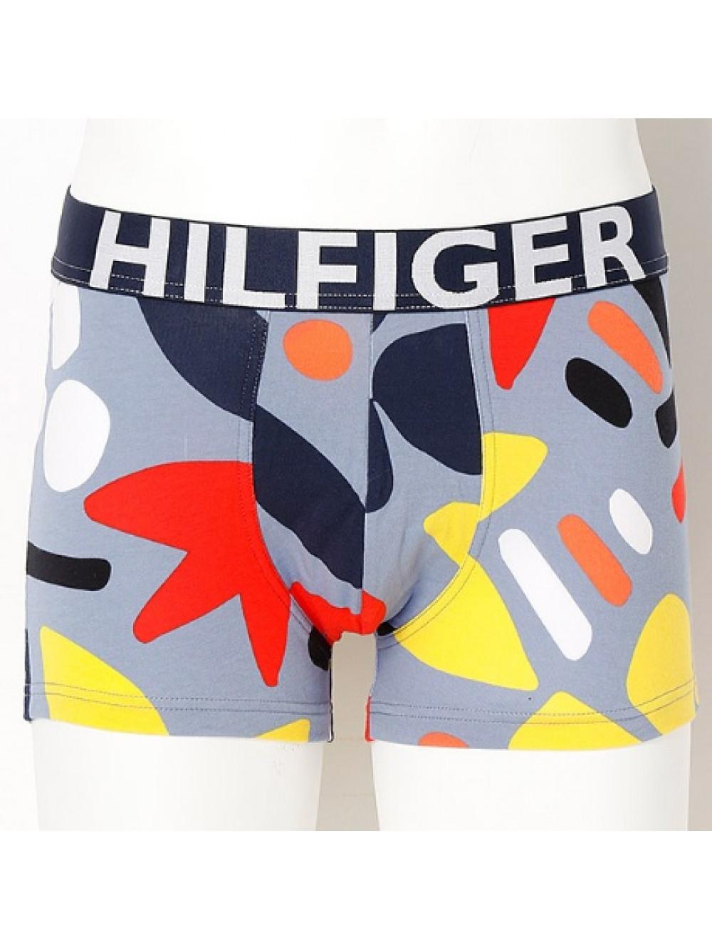 Herren Boxershorts Tommy Hilfiger Trunk Abstract Print Blau, Gemustert