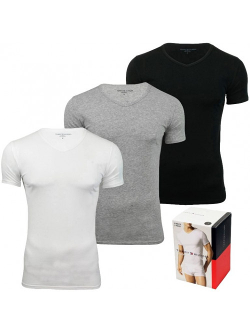 Herren T-Shirts Tommy Hilfiger V-Neck Tee SS Weiß, Grau und Schwarz 3-pack