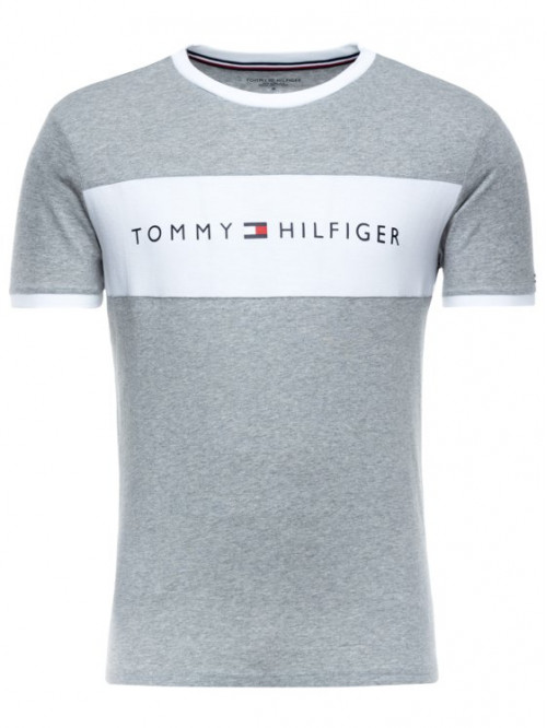 Herren T-Shirt Tommy Hilfiger Tee Logo Flag Grau