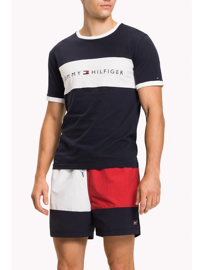 Herren T-Shirt Tommy Hilfiger Tee Logo Flag Schwarz