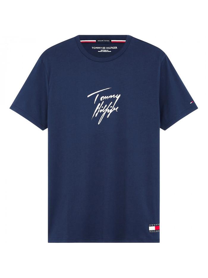 Herren T-Shirt Tommy Hilfiger Signature Logo Blau