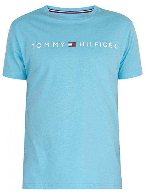 Herren T-Shirt Tommy Hilfiger Crew Neck Tee Logo Türkis