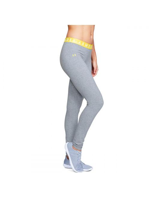 Damen Leggings Under Armour Favorite Grau mit gelber Taille