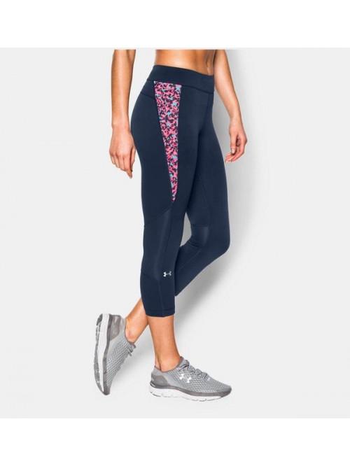 Damen kompression 3/4 Leggings Under Armour Printinset Crop blau
