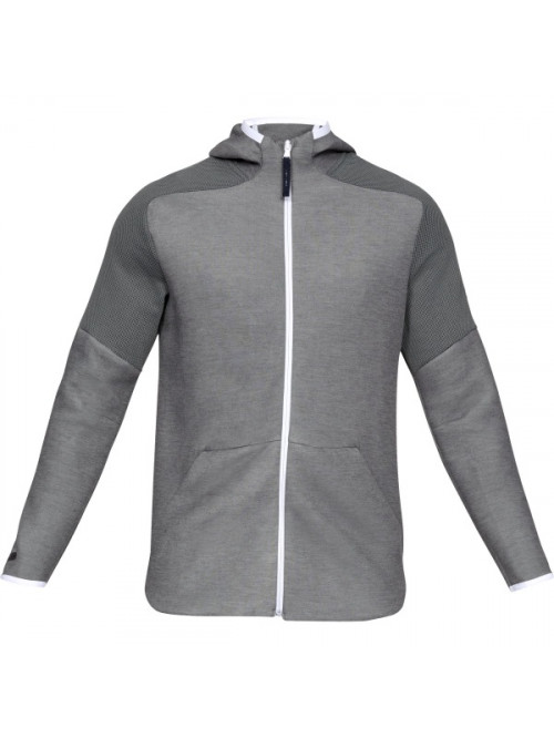 Herren Sweatshirt Under Armour Unstoppable Move Light FZ Hoodie Black Light Heather Schwarz