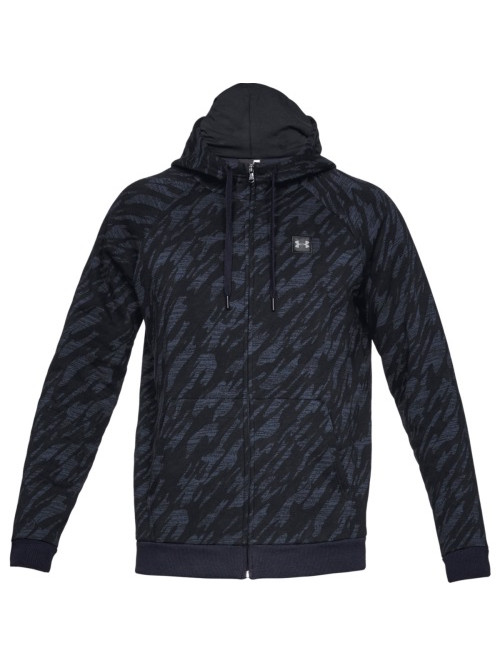 Herren Sweatshirt Under Armour Rival Fleece Camo FZ Hoodie Schwarz