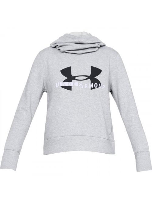 Damen Sweatshirt Under Armour Cotton Fleece Sportstyle Logo Hoodie Grau