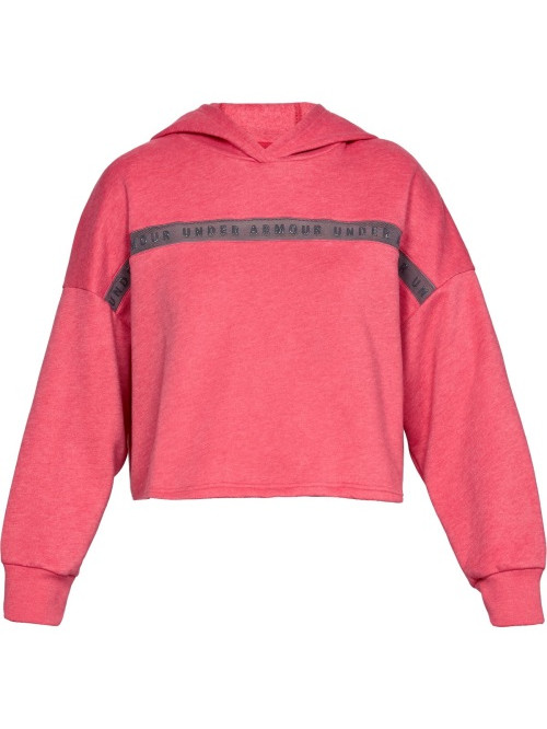 Damen Sweatshirt Under Armour TAPED FLEECE HOODIE Impulse Pink Rosarot