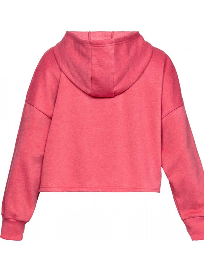 Damen Sweatshirt Under Armour TAPED FLEECE HOODIE Impulse Pink Rosarot