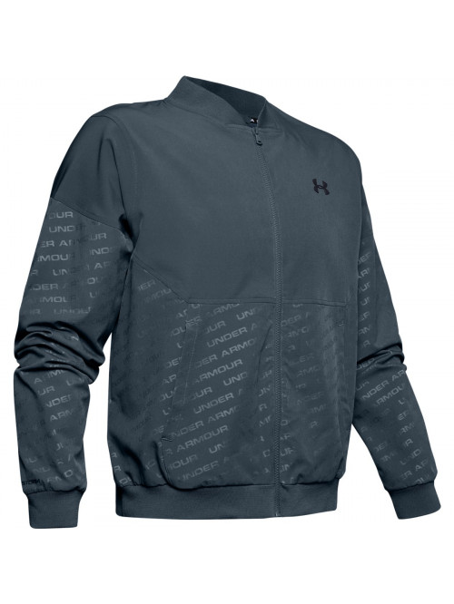 Herren Sweatshirt Under Armour Unstoppable Emboss Bomber Wire Grau
