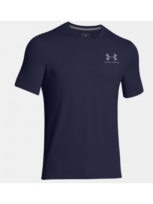Herren lockeres T-Shirt Under Armour Left Chest Logo Tee blau-grau