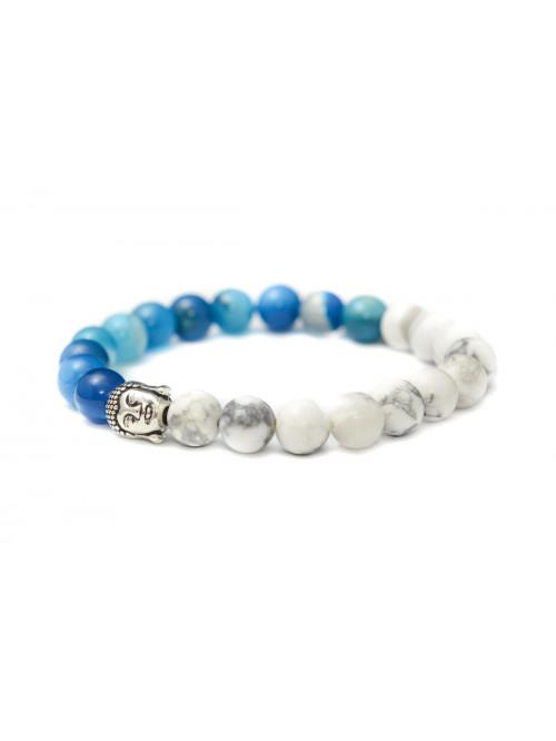 Armband Buddha Jin Jang - blauer Achat