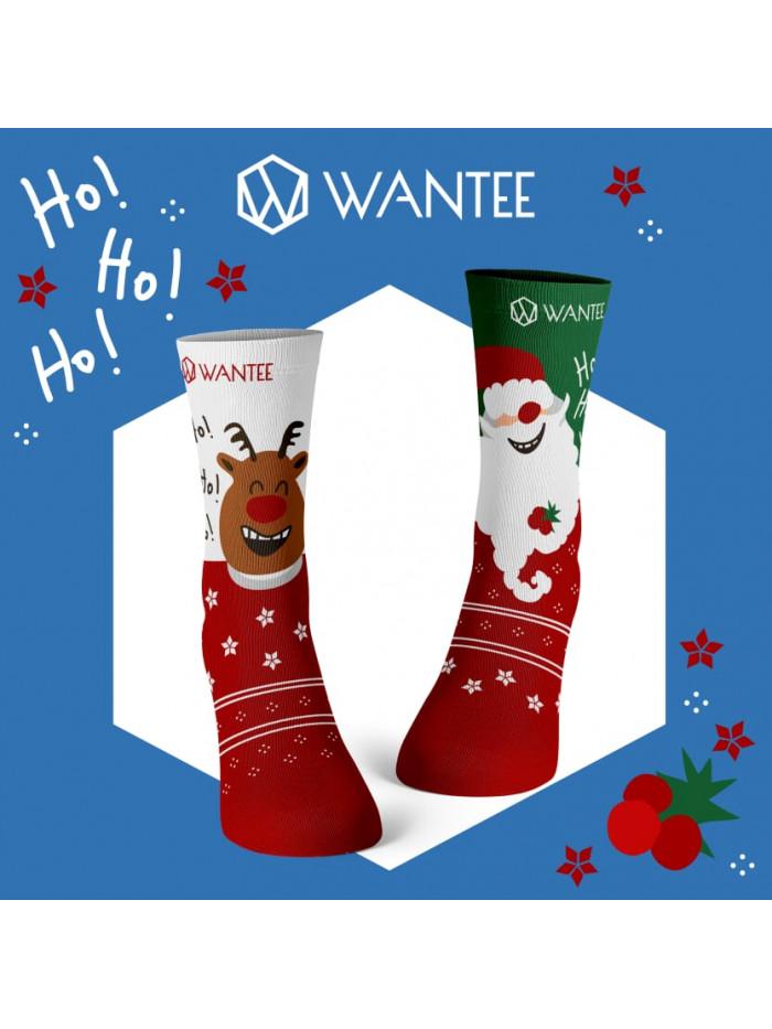 Socken Fröhlicher Weihnachtsmann und Rentier Wantee
